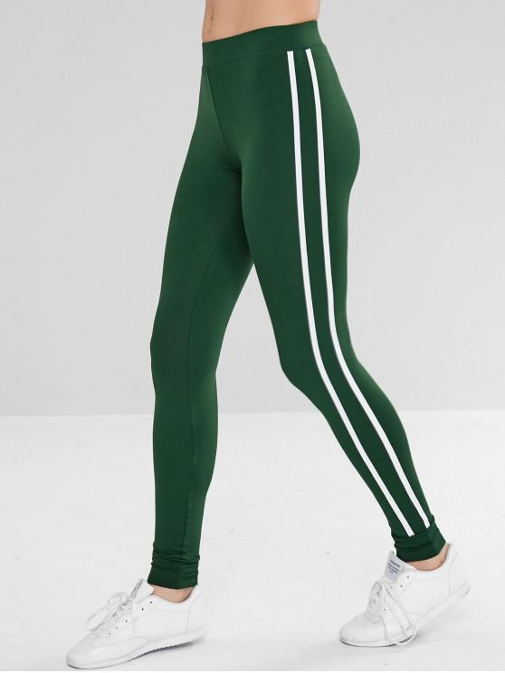 Contraste Side Sports Ginásio Jogger Pants - Verde profundo S