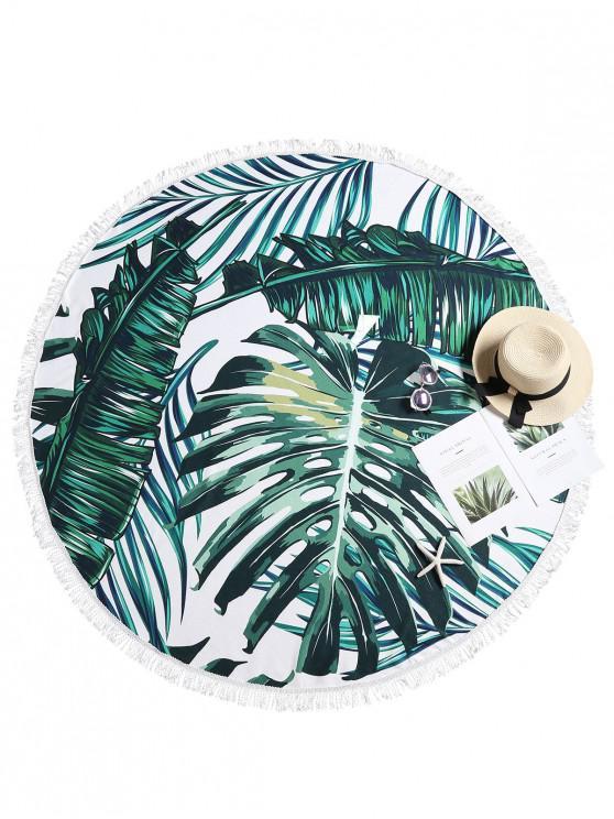 Toalha de praia de folha tropical com franjas - Multi-A Um Tamanho