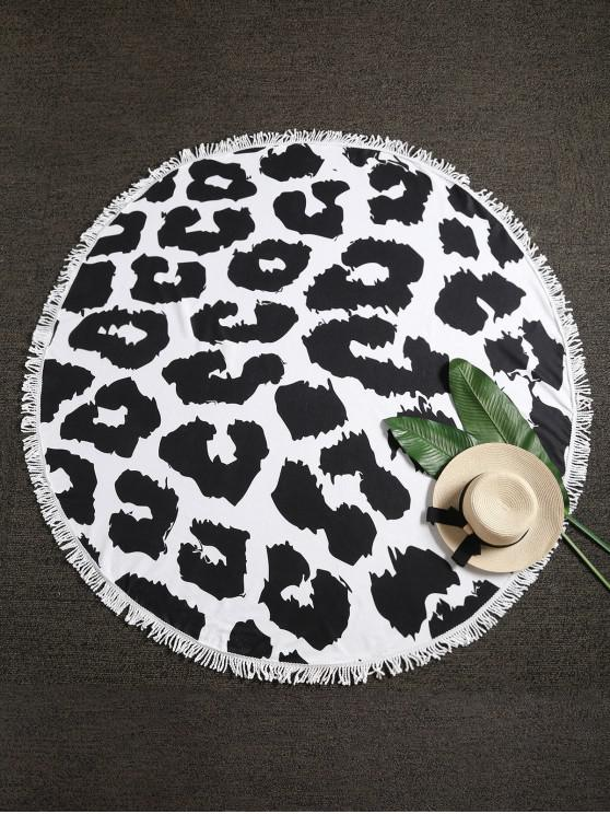 fancy Leopard Fringed Beach Blanket - MULTI-A ONE SIZE
