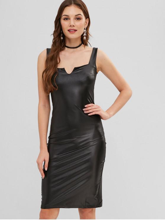 fashion Slit PU Leather Bodycon Tank Dress - BLACK S