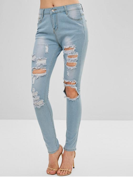 unique Light Washed Ripped Skinny Jeans - DENIM BLUE M