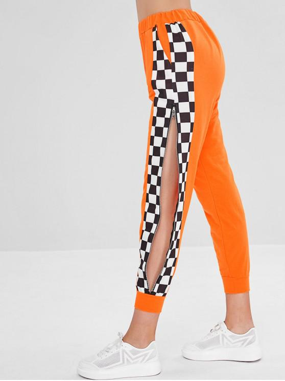 shop Plaid Zipped Split Joggers High Waisted Pants - PUMPKIN ORANGE M