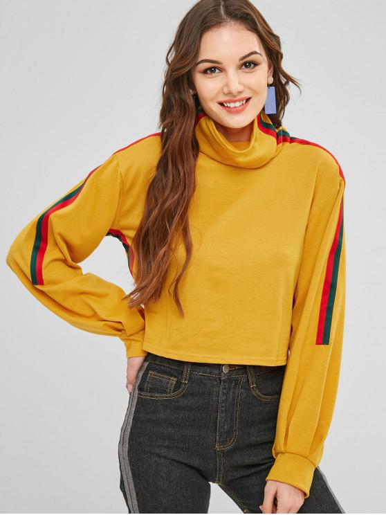 best Cowl Neck Stripes Sweatshirt - BEE YELLOW L