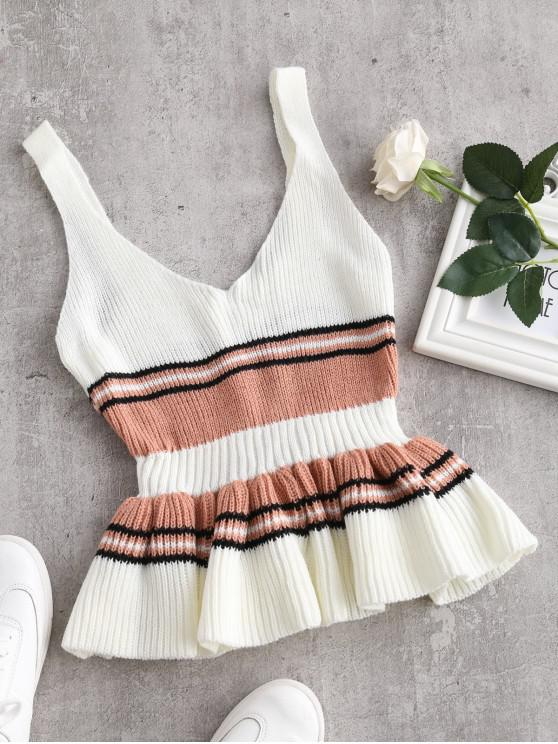 women Flounce Colorblock Knitted Tank Top - MILK WHITE ONE SIZE