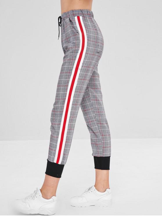 Cintura con cordón de empalme a cuadros pantalones - Multicolor S