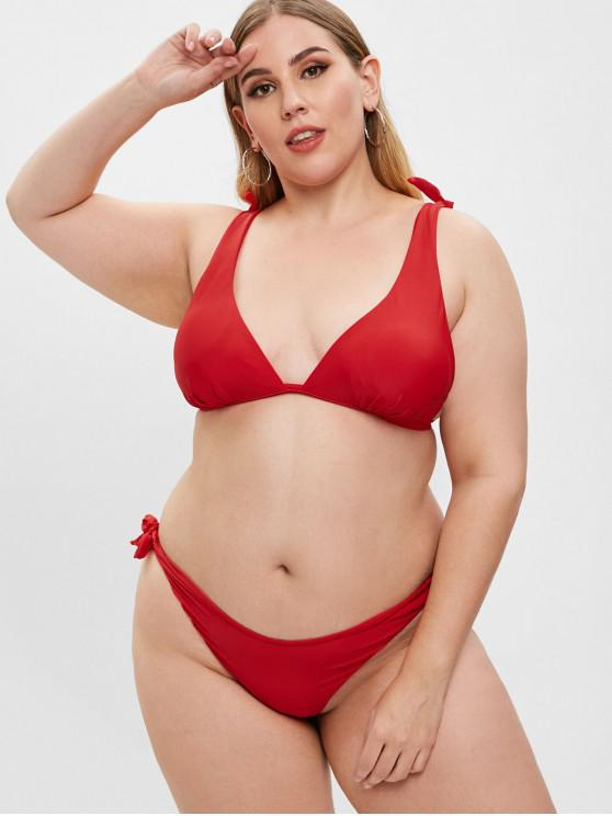 unique ZAFUL Tied High Leg Plus Size Bikini Set - RED 1X