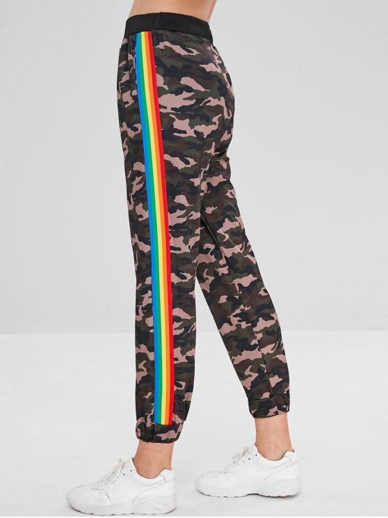 ladies Rainbow Pattern Splicing Camo Pants - MULTI M