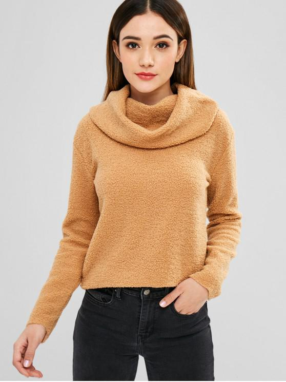 women Fluffy Cowl Neck Sweater - CAMEL BROWN M