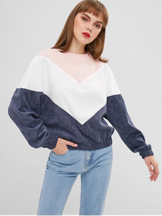 womens ZAFUL Color Block Corduroy Sweatshirt - MULTI M
