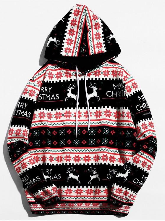 new Christmas Geometry Pattern Pullover Hoodie - BLACK L