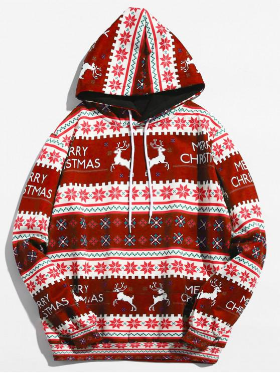 Christmas Geometry Pattern Pullover Hoodie - نبيذ احمر 2XL