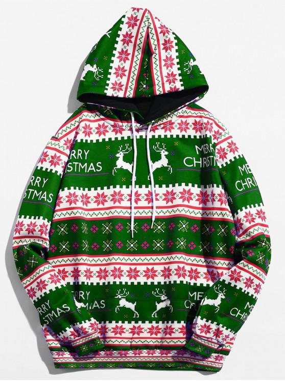 online Christmas Geometry Pattern Pullover Hoodie - MEDIUM FOREST GREEN M