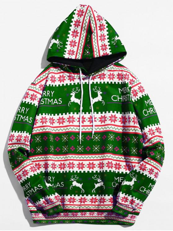 latest Christmas Geometry Pattern Pullover Hoodie - MEDIUM FOREST GREEN XL