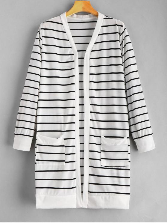 new Open Front Striped Pockets Coat - WHITE M