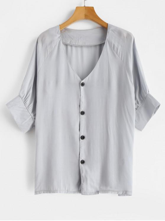 shops V Neck Buttons Raglan Sleeves Blouse - BABY BLUE S