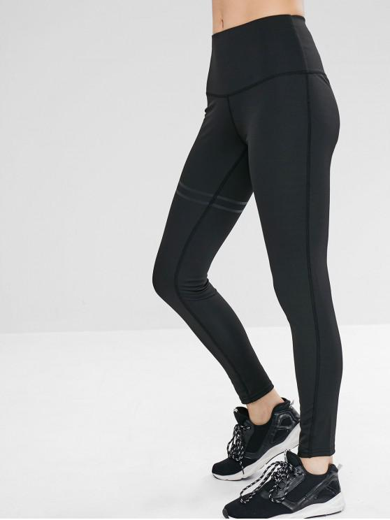 outfits Elastic High Waist Solid Color Leggings - BLACK L