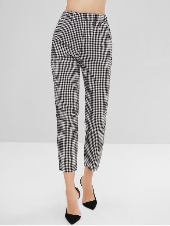 shops Gingham Pattern Elastic Waist Pants - MULTI M