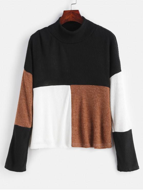 lady Mock Neck Color Block Pullover Sweater - MULTI XL