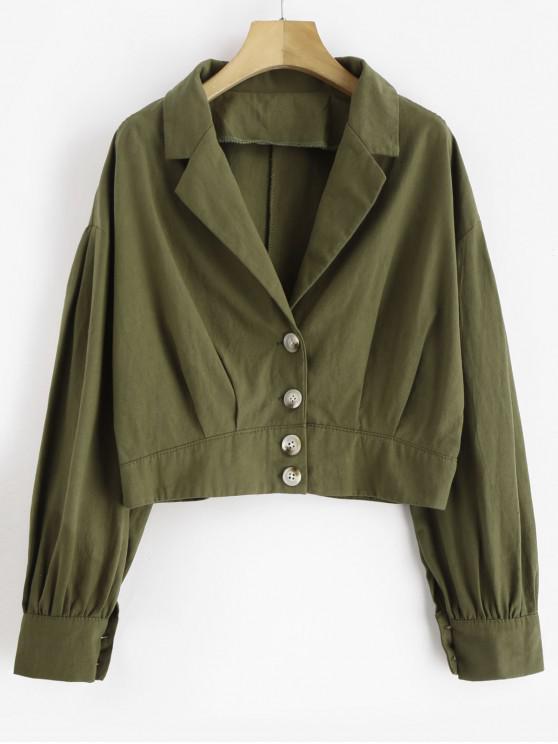 sale Lapel Drop Shoulder Button Up Blouse - CAMOUFLAGE GREEN L