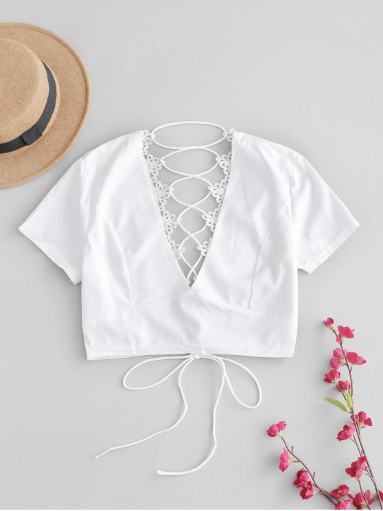 ladies Back Lace Up Plunge Tee - WHITE L