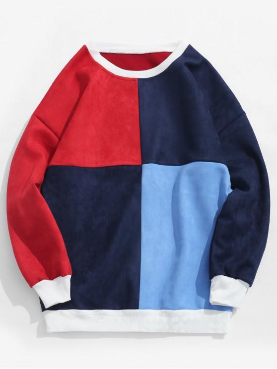 women ZAFUL Color Block Suede Sweatshirt - MULTI-B XL