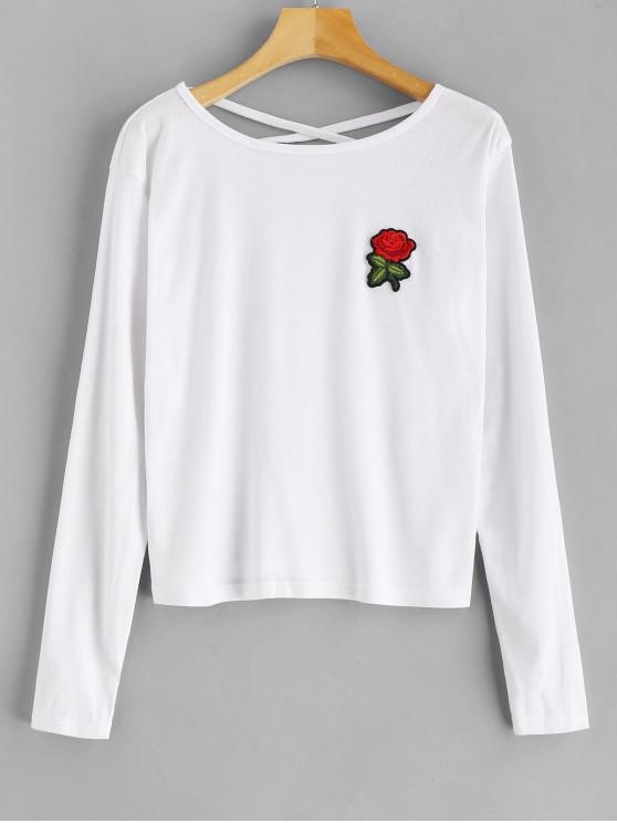 T-Shirt Incrociata Indietro Con Maniche Lunghe - Bianca S