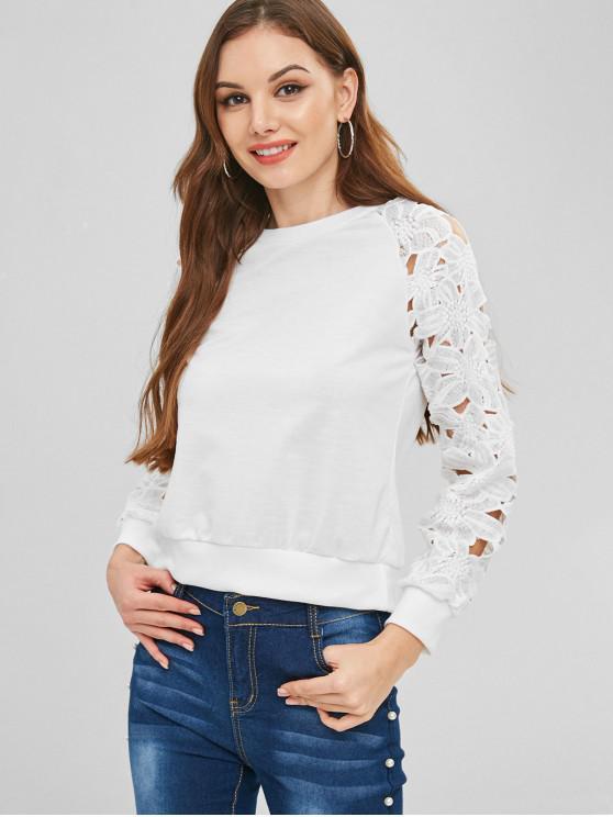 women's Raglan Sleeve Lace Panel Sweatshirt - WHITE L