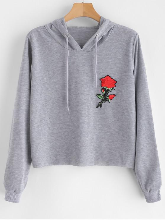 buy Floral Applique Pullover Hoodie - GRAY CLOUD L