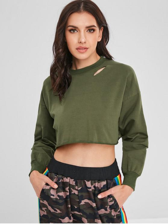 outfit Distressed Crop Sweatshirt - ARMY GREEN ONE SIZE
