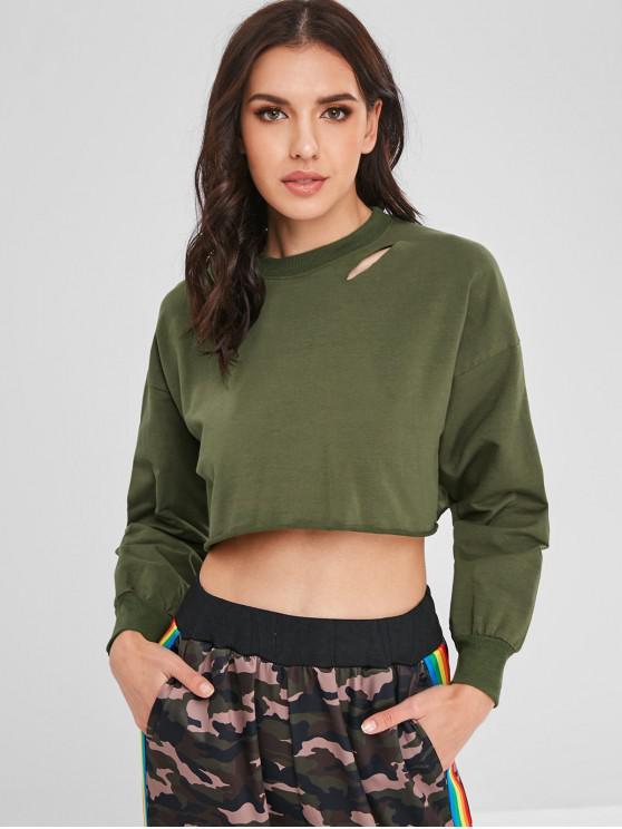 Sweat-shirt Court Déchiré - Vert Armée  Taille Unique