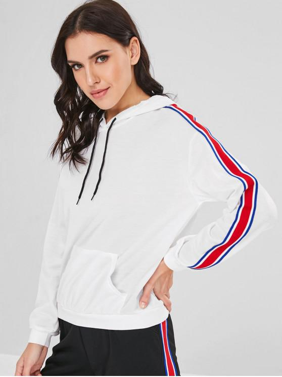 women's Ribbon Insert Front Pocket Hoodie - WHITE XL