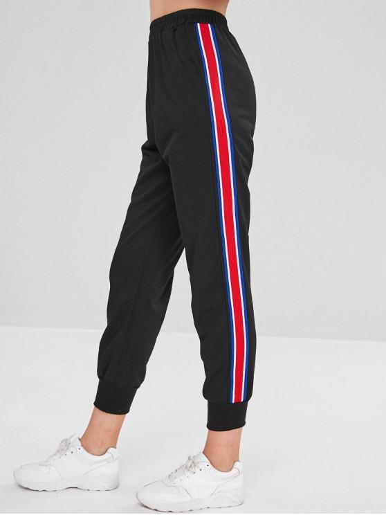 Pantalon de Jogging à Taille Elastique avec Ruban Inséré - Noir L
