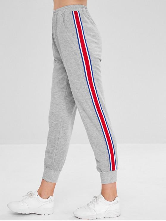 Calças de jogging elástico na cintura - Cinza claro XL