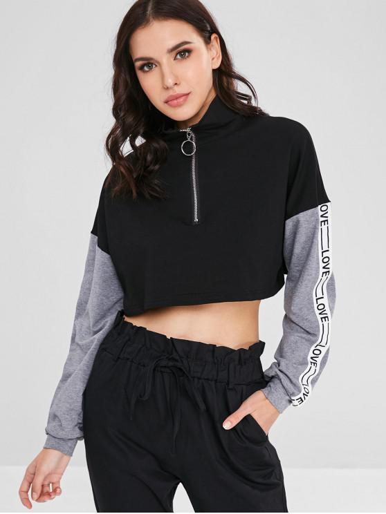 buy LOVE Color Block Zip Up Crop Sweatshirt - BLACK S