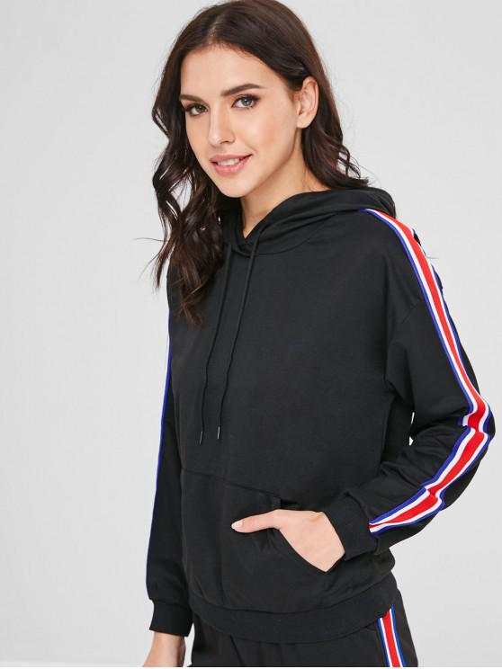 ladies Ribbon Insert Front Pocket Hoodie - BLACK M
