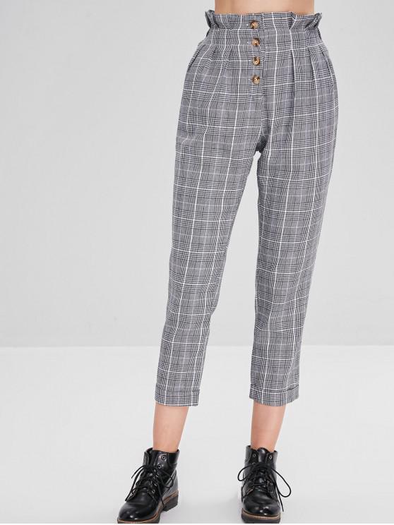 Pantalon Boutonné Carreaux à Grille à Taille Haute - Multi M
