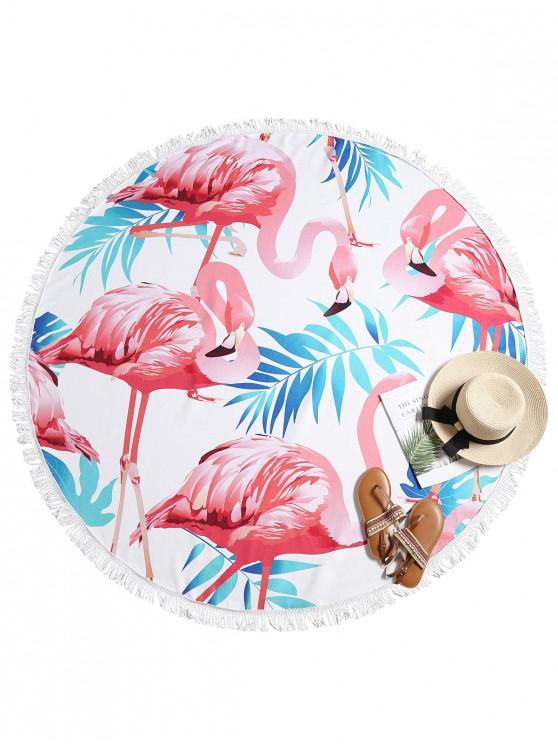 Toalla de playa con flecos y estampado de flamencos - Multicolor-A Única Talla