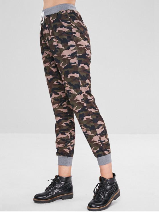 women's High Elastic Waist Camouflage Pants - MULTI M