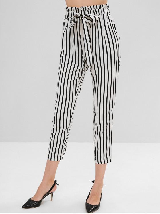ladies High Elastic Waist Striped Self Tie Pants - WHITE M