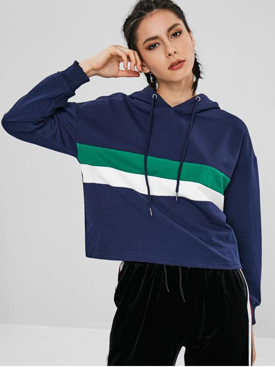 affordable Ribbed Cuffs Color Block Hoodie - LAPIS BLUE L