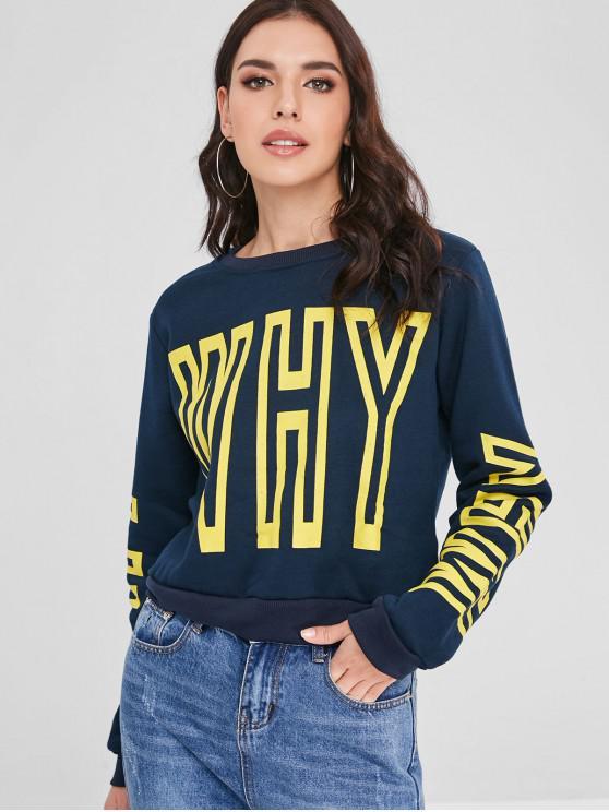 Sweat-shirt Graphique à Doublure en Laine - Ardoise bleue foncée XL