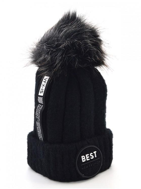 online Stylish Flanging Knitted Pom Pom Knit Cap - BLACK