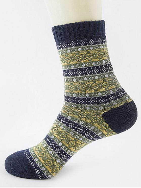 shop Ethnic Pattern Thick Crew Socks - ARMY GREEN