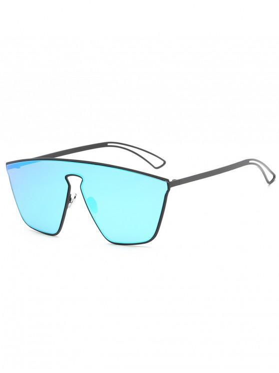 hot Stylish Metal Frame Shield Sunglasses - DENIM BLUE