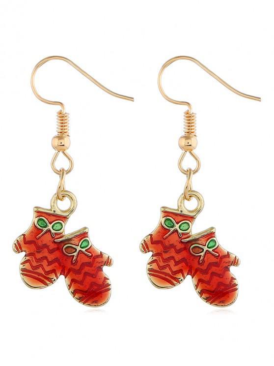 chic Christmas Gloves Hook Design Earrings - GOLD