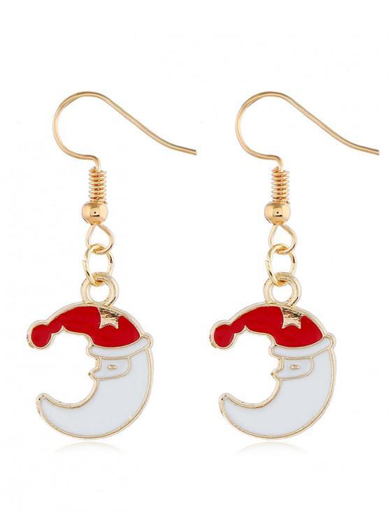 ladies Christmas Moon Design Metal Hook Earrings - GOLD