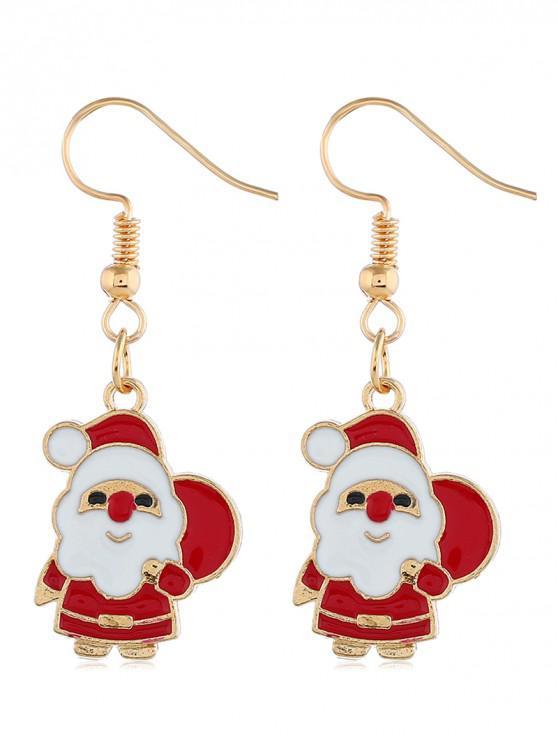 women's Festival Santa Claus Design Alloy Earrings - GOLD