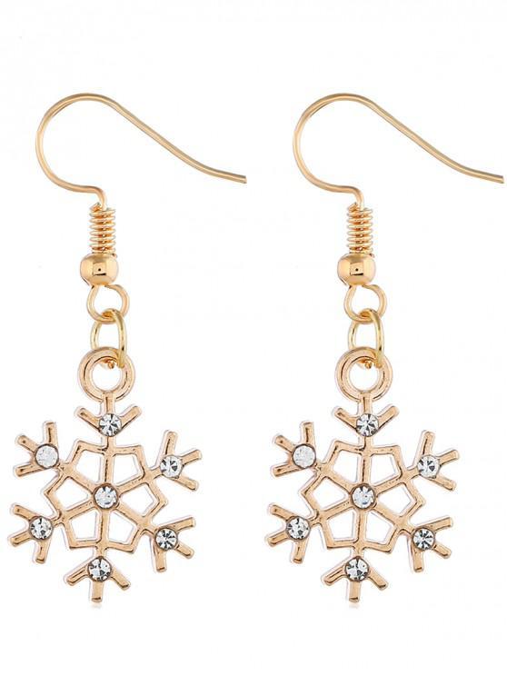 outfits Snowflake Shape Rhinestone Inlaid Earrings - GOLD