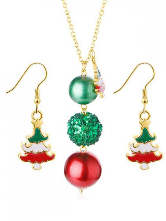 lady Christmas Tree Ball Shape Necklace Earrings Set - GOLD