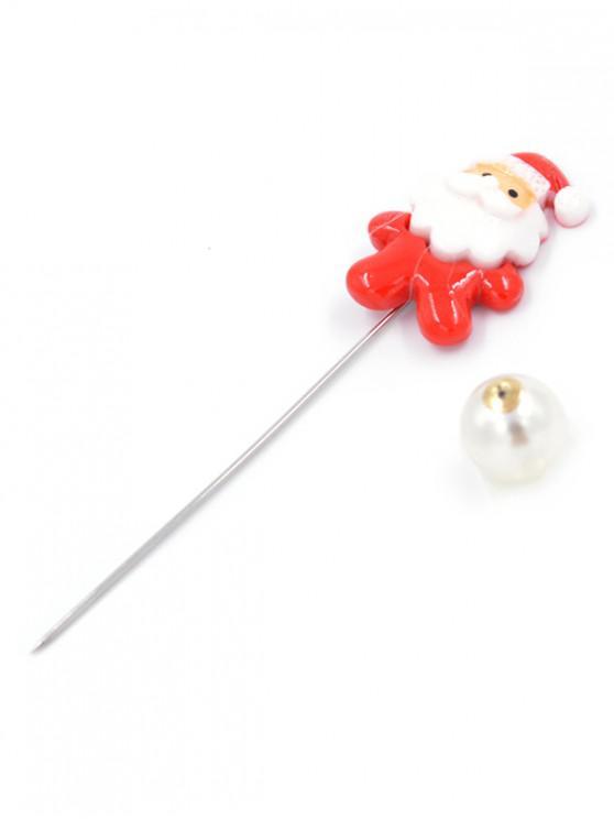 ladies Metal Santa Claus Shape Brooch Pin - LAVA RED